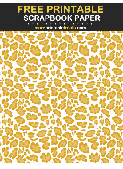 Free Printable Goldenrod Leopard Print on White Background Scrapbook Paper