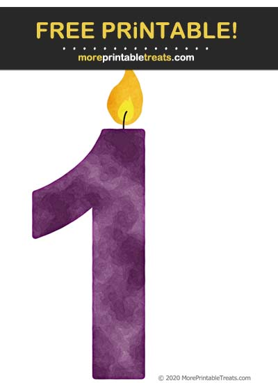 Free Printable Grape Purple Watercolor Birthday Candle Number 1 Cut Out