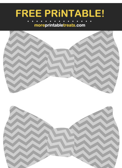 Free Printable Gray Chevron Bow Tie Cut Outs