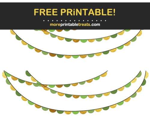 Free Printable Green and Gold Scalloped Bunting Banner Cut Outs