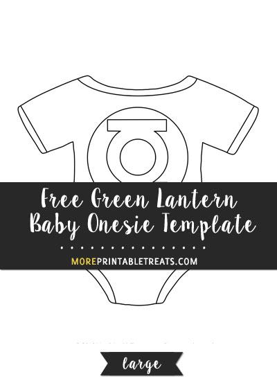 Free Green Lantern Baby Onesie Template - Large