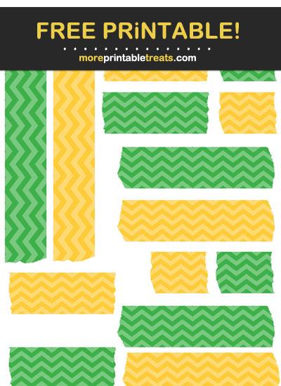 Free Printable Green and Mustard Yellow Chevron Washi Tape