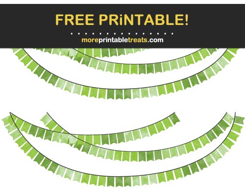Free Printable Green Watercolor Swallowtail  Bunting Banner Cut Outs