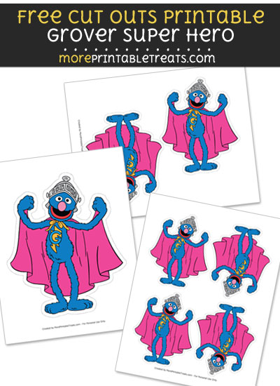 Free Grover Super Hero Cut Out Printable with Dashed Lines - Sesame Street