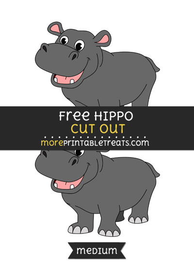 Free Hippo Cut Out - Medium Size Printable