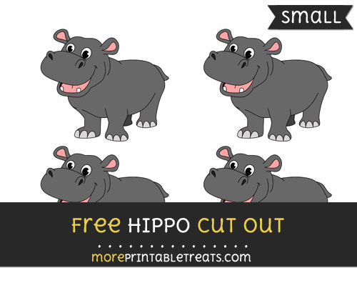 Free Hippo Cut Out - Small Size Printable