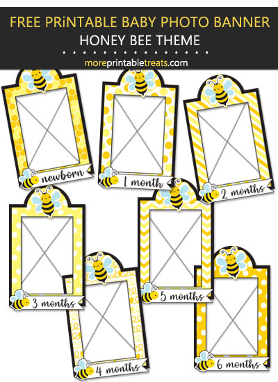 Free Printable Honey Bee Baby's First Year Monthly Photo Banner Frames