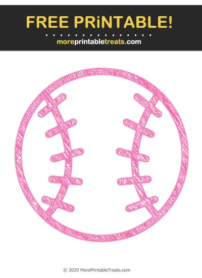 Free Printable Hot Pink Chalk-Style Baseball Icon Cut Out