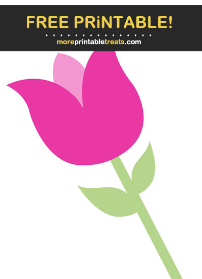 Free Printable Hot Pink Tulip Cut Out