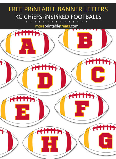 Free Printable Kansas City Chiefs-Inspired Football Banner Letters