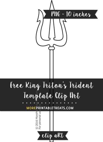 King Triton's Trident Template - Clipart