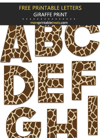 Free Printable Large Giraffe Print Letters