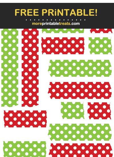 Free Printable Lava Red and Apple Green Polka Dot Washi Tape