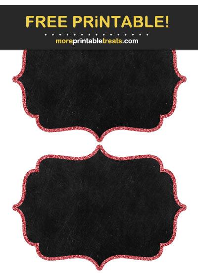 Free Printable Lava Red Glitter Border Chalkboard Labels