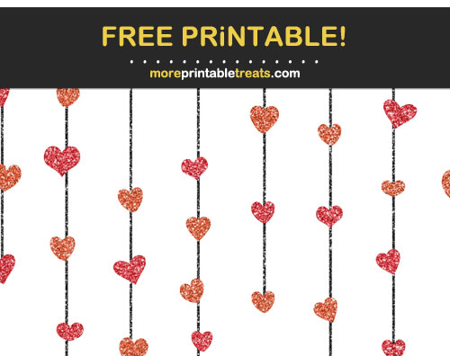 Free Printable Lava Red Glittery Heart Garlands