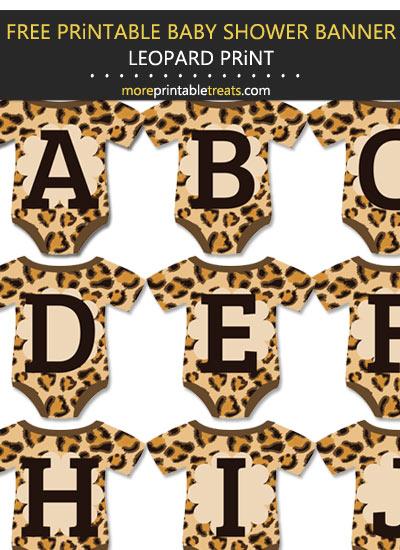 DIY Printable Leopard Print Baby Onesie Shaped Baby Shower Bunting Banner