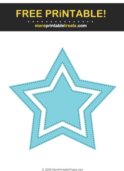Free Printable Light Blue Black-Stitched Double Star Cut Out