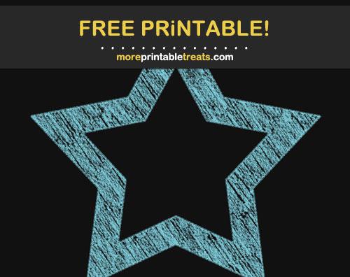 Free Printable Light Blue Chalk-Style Star Frame