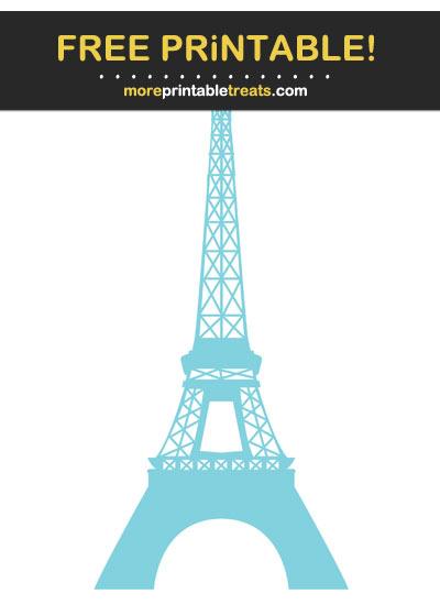 Free Printable Light Blue Eiffel Tower Silhouette