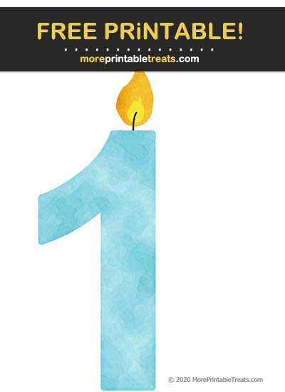 Free Printable Light Blue Watercolor Birthday Candle Number 1 Cut Out