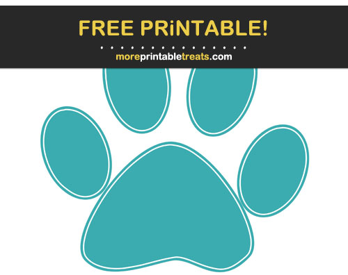 Free Printable Light Teal White-Outlined Paw Print