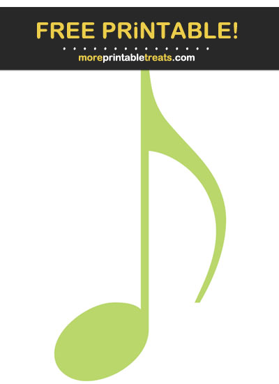 Free Printable Lime Green Eighth Note