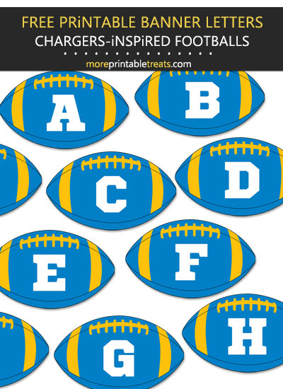 Free Printable Los Angeles Chargers-Inspired Football Alphabet