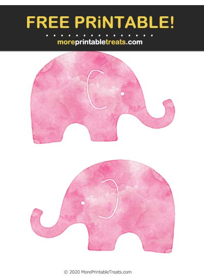 Free Printable Magenta Watercolor Baby Elephant Cut Outs