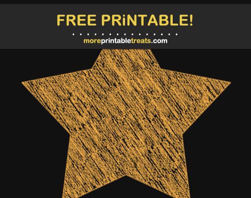 Free Printable Marigold Orange Chalk-Style Star
