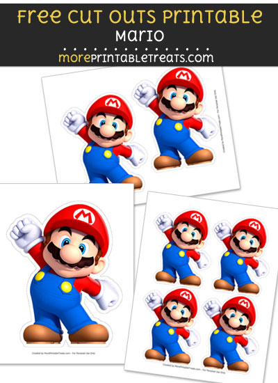 Free Mario Cut Out Printable with Dashed Lines - Super Mario Bros