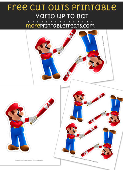 Free Mario Up to Bat Cut Out Printable with Dashed Lines - Super Mario Bros