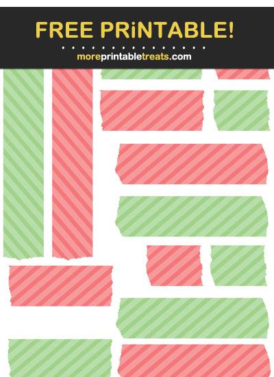 Free Printable Melon Green and Coral Tinted Chevron Washi Tape