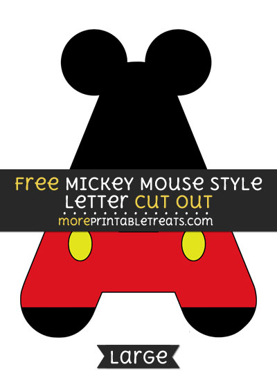 Free Mickey Mouse Style Letter A Cut Out - Large size printable