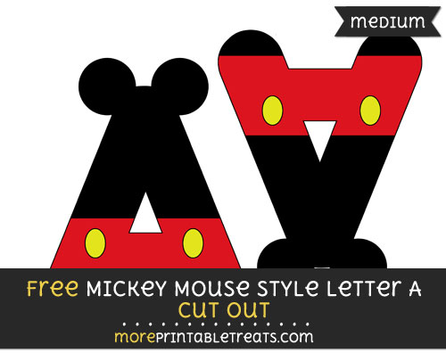 Free Mickey Mouse Style Letter A Cut Out - Medium Size Printable