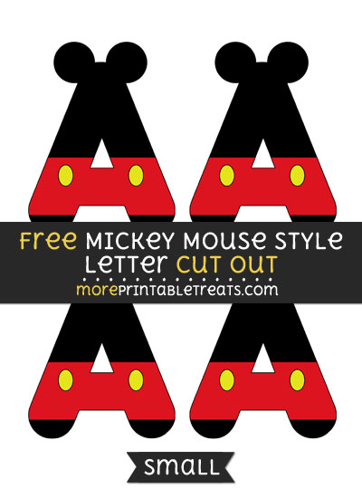 Free Mickey Mouse Style Letter A Cut Out - Small Size Printable
