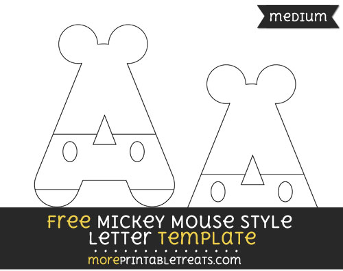 Free Mickey Mouse Style Letter A Template - Medium