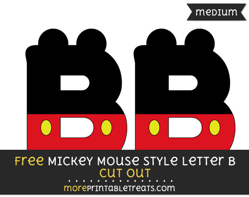 Free Mickey Mouse Style Letter B Cut Out - Medium Size Printable