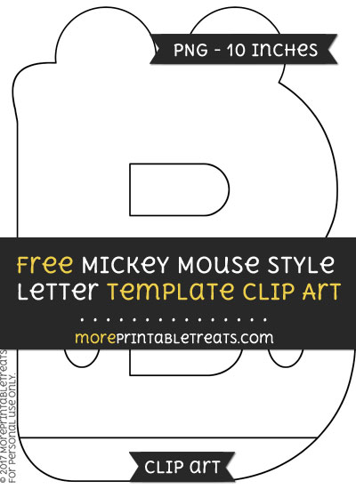 Free Mickey Mouse Style Letter B Template - Clipart