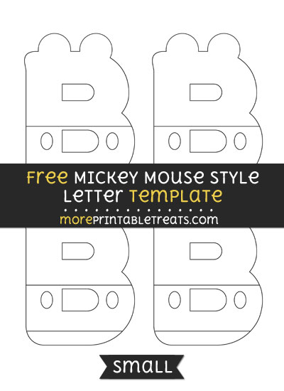 Free Mickey Mouse Style Letter B Template - Small