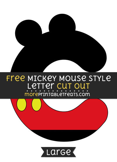 Free Mickey Mouse Style Letter C Cut Out - Large size printable