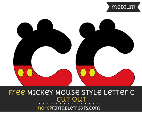 Free Mickey Mouse Style Letter C Cut Out - Medium Size Printable