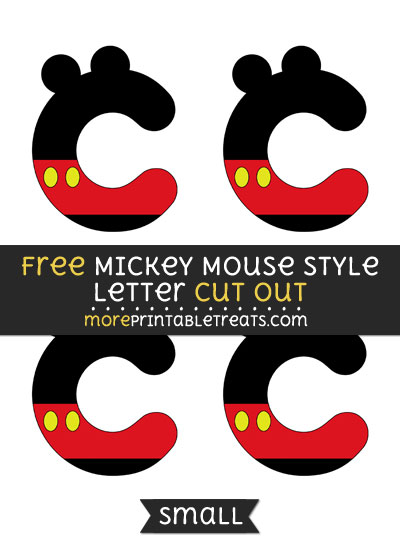 Free Mickey Mouse Style Letter C Cut Out - Small Size Printable