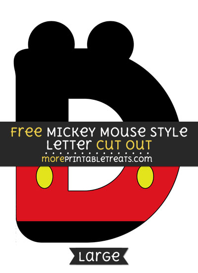 Free Mickey Mouse Style Letter D Cut Out - Large size printable