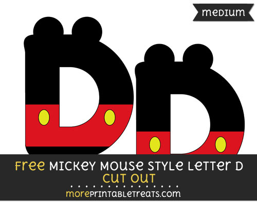 Free Mickey Mouse Style Letter D Cut Out - Medium Size Printable