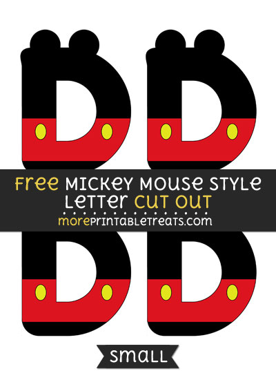 Free Mickey Mouse Style Letter D Cut Out - Small Size Printable