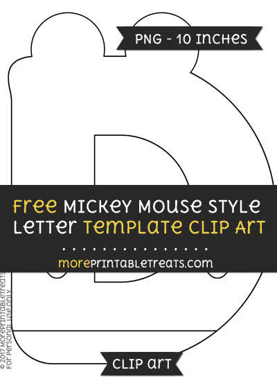 Free Mickey Mouse Style Letter D Template - Clipart