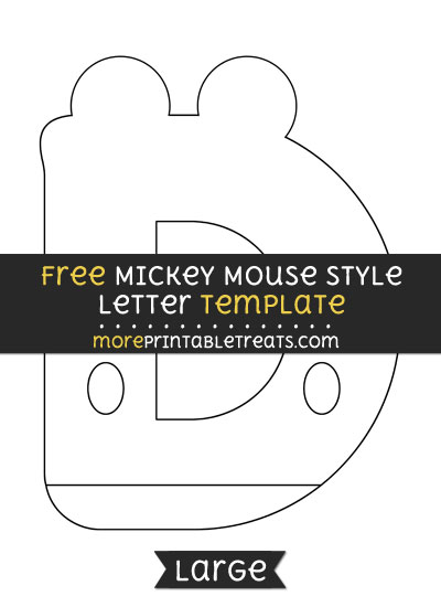 Free Mickey Mouse Style Letter D Template - Large