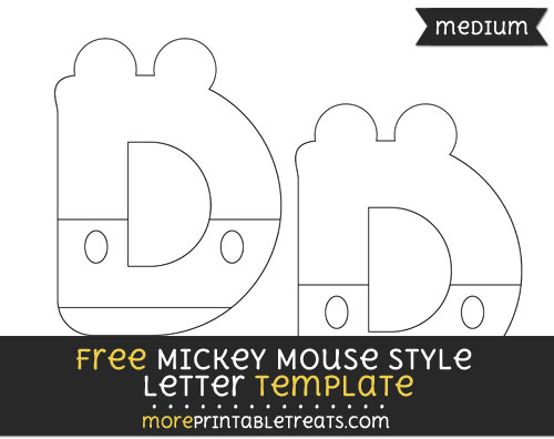 Free Mickey Mouse Style Letter D Template - Medium