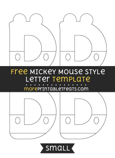 Free Mickey Mouse Style Letter D Template - Small