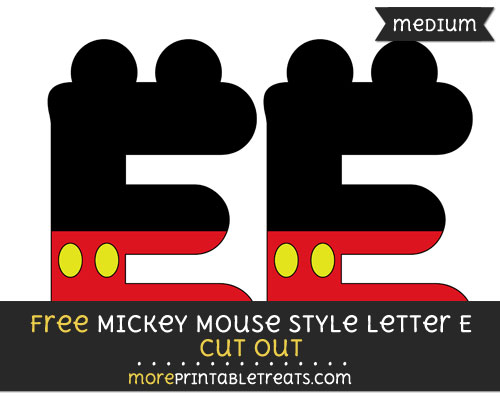 Free Mickey Mouse Style Letter E Cut Out - Medium Size Printable